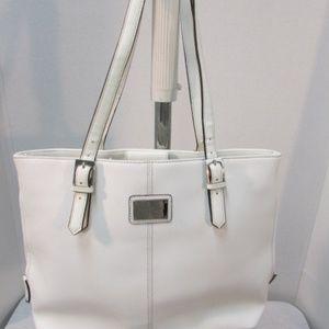 Tignanello White Piega Leather Tote